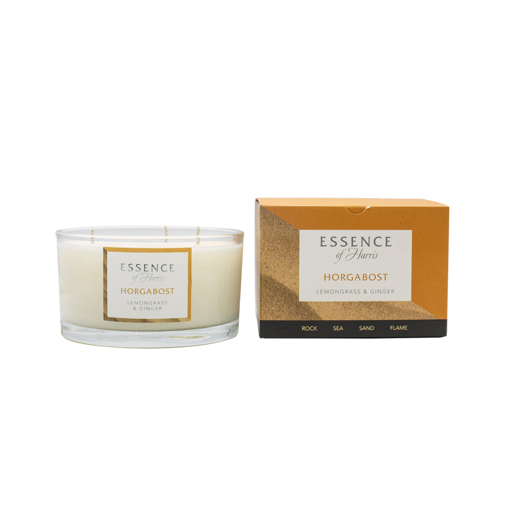 Essence of Harris Lemongrass & Ginger 3 Wick Candle with matching orange Horgabost candle box