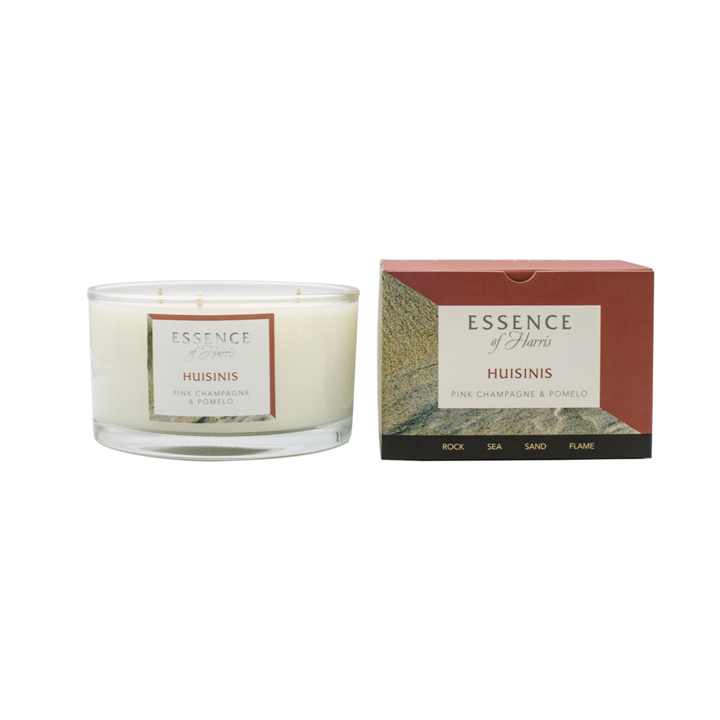 Essence of Harris soy wax 3 wick glass candle with matching salmon pink pomelo Huisinis candle box