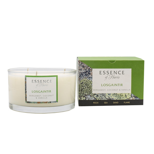 Essence of Harris Losgaintir single wick glass candle and matching box