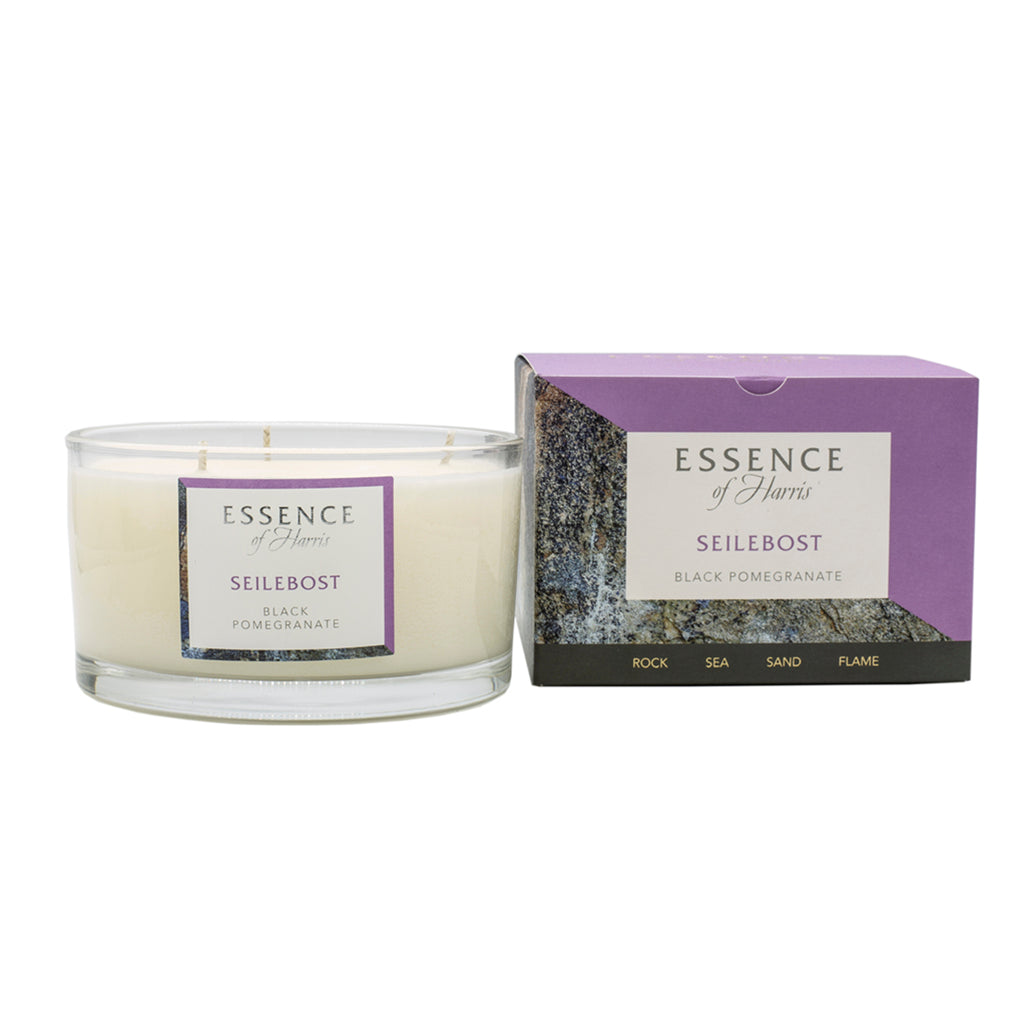 Essence of Harris soy wax 3 wick black pomegranate glass candle with matching purple Seilebox candle box
