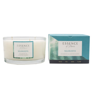Essence of Harris soy wax 3 wick glass candle with matching blue Sgarasta candle box