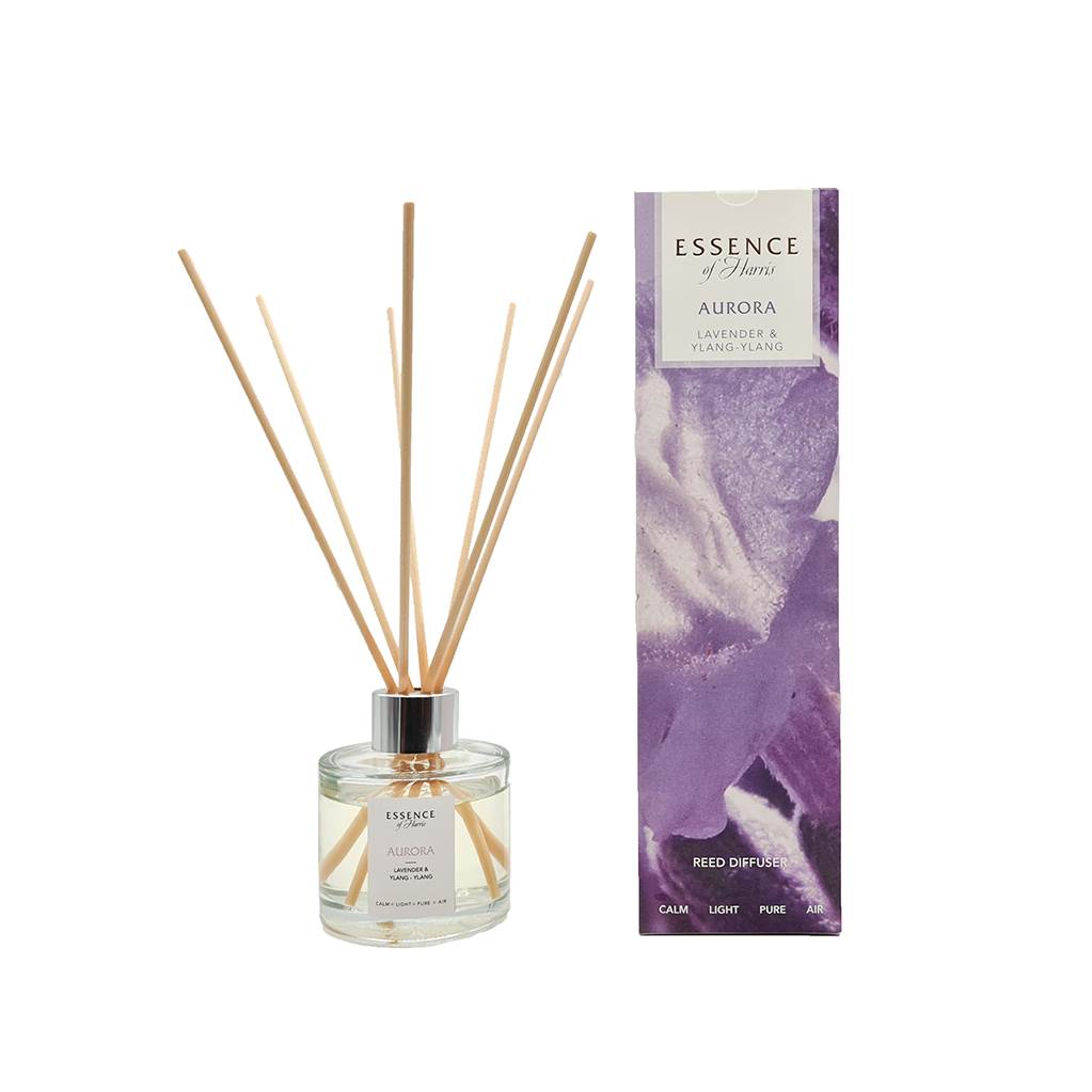 Essence of Harris Aurora Reed Diffuser with clear glass and reeds next to Aurora Reed Diffuser box