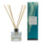 Clear glass reed diffuser with Sgarasta scented liquid with natural reeds packaged in our Essence of Harris blue Sgarasta diffuser box