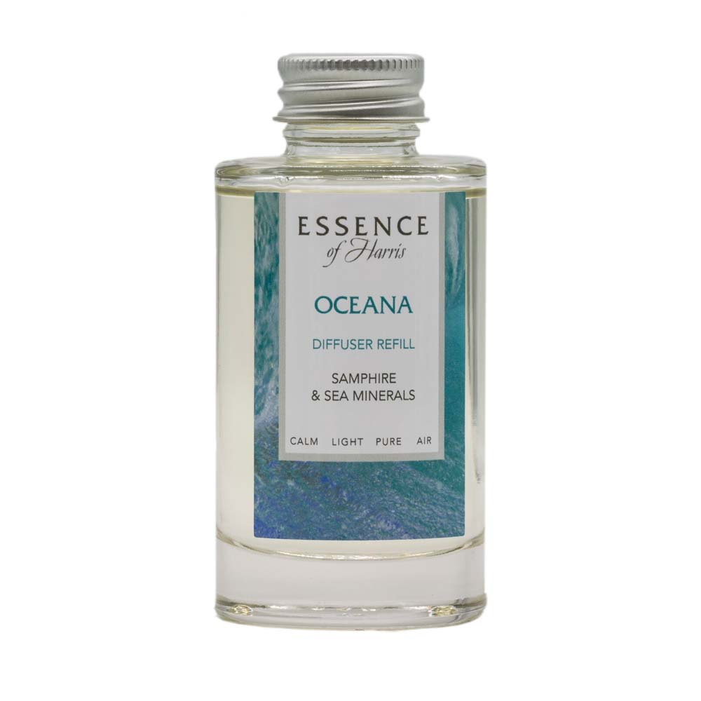 Clear Glass 100ml Reed Diffuser Refill, with sea blue Oceana label
