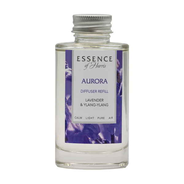 Clear Glass 100ml Reed Diffuser Refill, with purple Aurora label