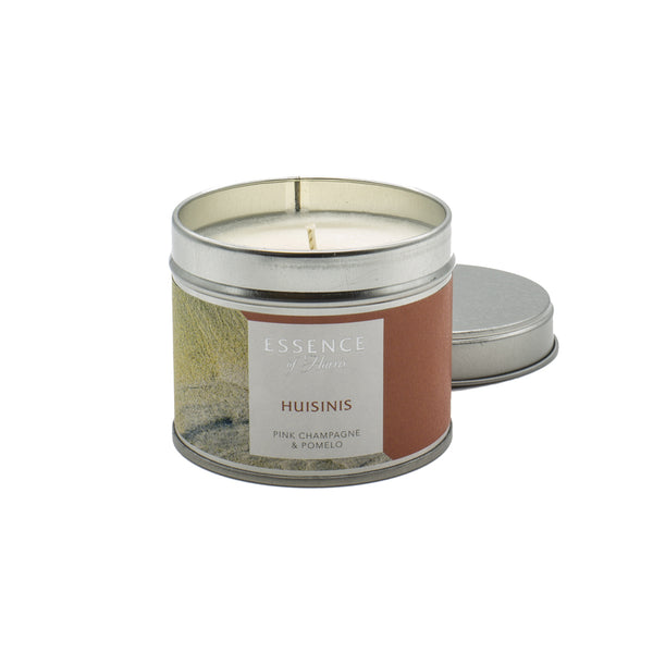 Silver tin single wick candle with salmon pink Essence of Harris Huisinis label