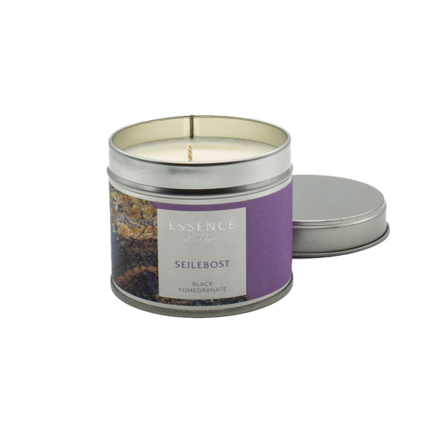 Silver tin single wick candle with purple Essence of Harris Seilebost label