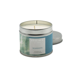 Silver tin single wick candle with blue Essence of Harris Sgarasta label