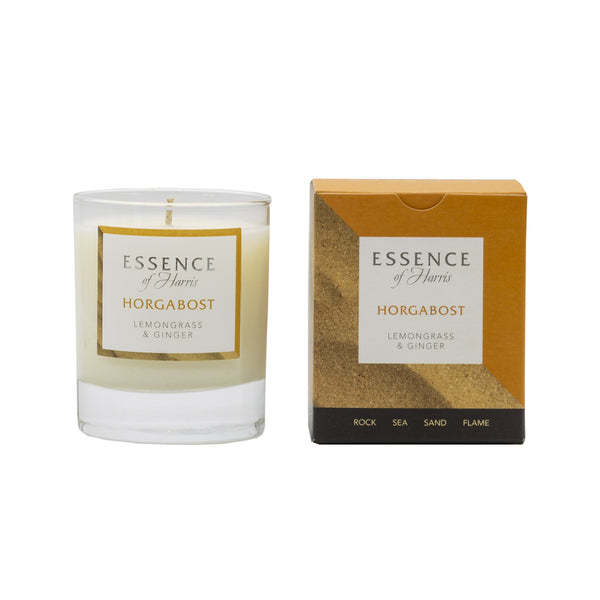 Essence of Harris lemongrass and ginger clear glass single wick candle with orange Horgabost candle box