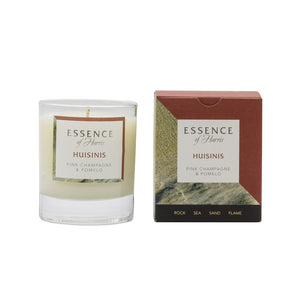 Essence of Harris Huisinis single wick clear glass Candle with matching salmon pink & sand box