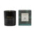 Shiny black glass single wick soy wax candle with Essence of Harris Adru box with blue and grey tartan design