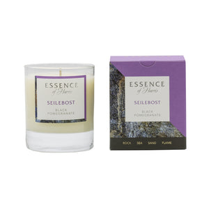 Essence of Harris single wick soy wax glass candle with purple Seilebost matching box