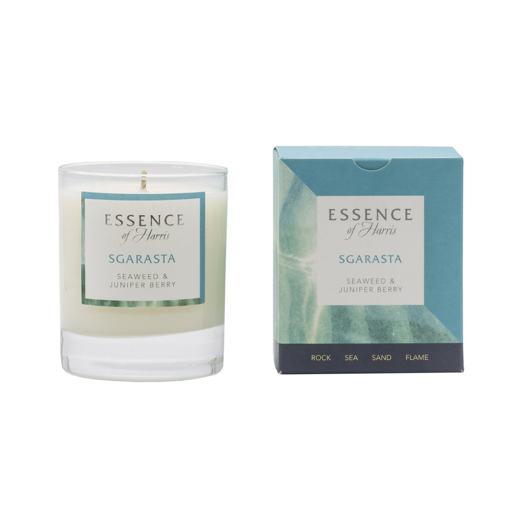 Essence of Harris single wick soy wax glass candle paired with turquoise Sgarasta box