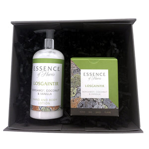 Essence of Harris gift box with Losgaintir 20cl glass candle boxed in green beach inspired packaging with Losgaintir white hand lotion bottle