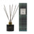 Black glass Reed Diffuser with gold lid and gold Essence of Harris on glass branding with dark reeds, and Essence of Harris Adru tartan diffuser box