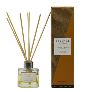 Clear glass reed diffuser with Horgabost scented liquid with natural reeds packaged in our Essence of Harris Horgabost diffuser box