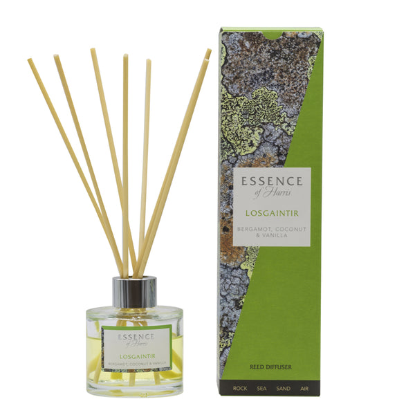 lear glass reed diffuser with Losgaintir scented liquid with natural reeds packaged in our Essence of Harris Losgaintir diffuser box