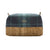 Large grey and teal blue Harris Tartan Wash Bag with vegan and eco-friendly cork base