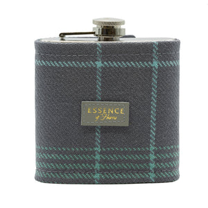 Essence of Harris Blue and Grey Tartan Covered Hip Flask with Silver Opener Details and Essence of Harris Logo
