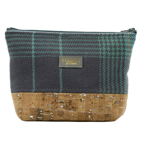 Grey and blue Harris Tartan Mini Cosmetic Bag with vegan and eco-friendly cork base