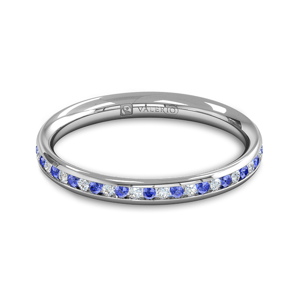 Diamond and Blue Sapphire Fairtrade Gold Eternity Ring