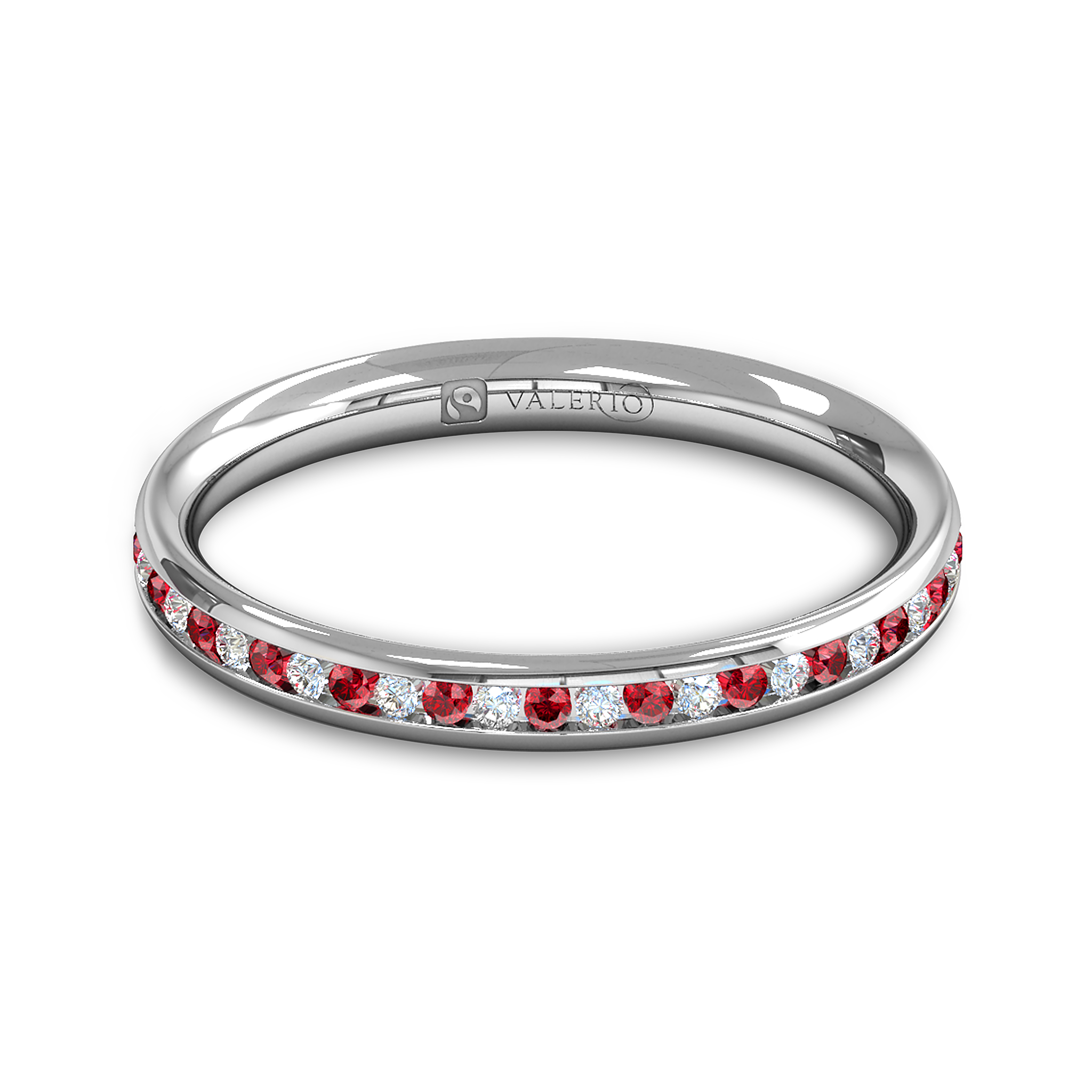 Diamond and Ruby Fairtrade Gold Eternity Ring in 18K White Gold