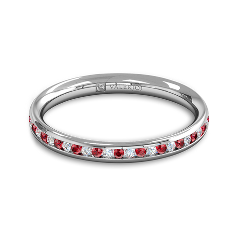 Diamond and Ruby Fairtrade Gold Eternity Ring