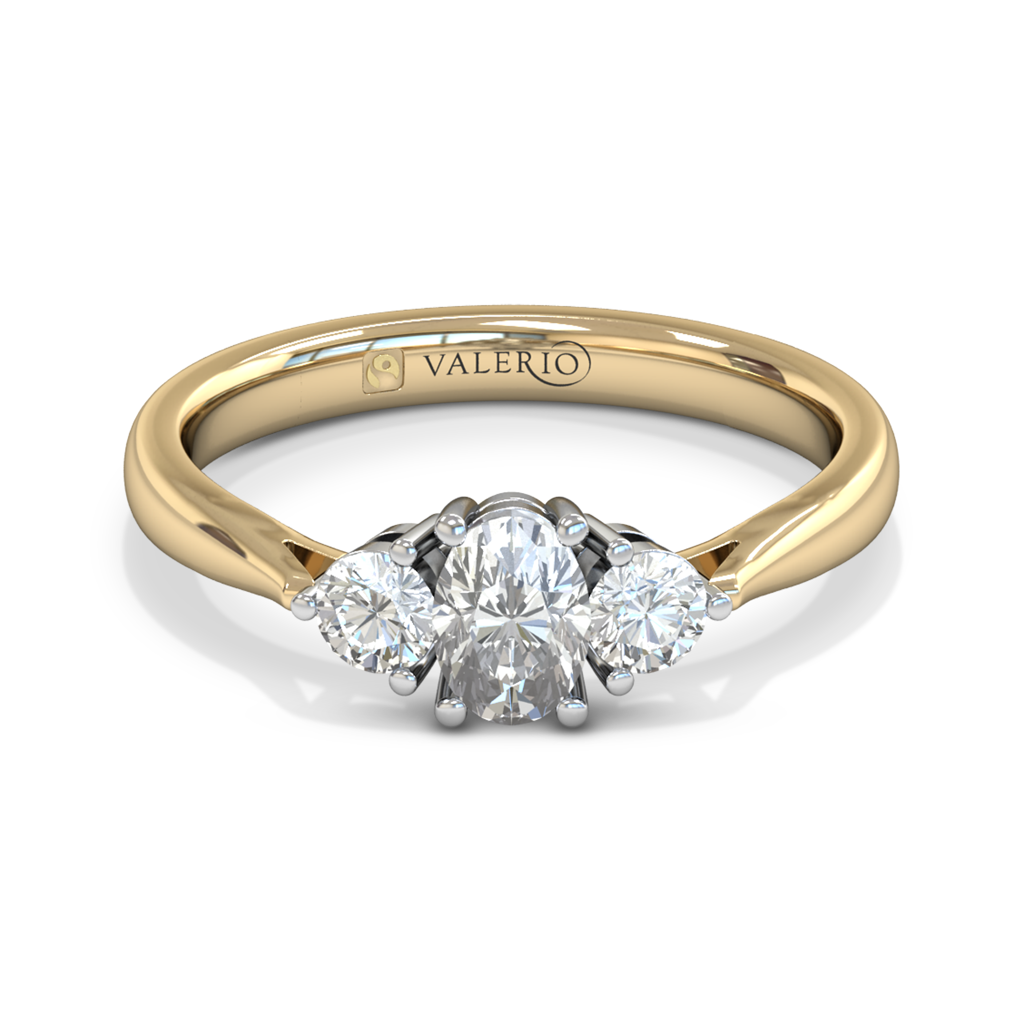 Oval Diamond Trinity Fairtrade Gold Engagement Ring in 18K Yellow Gold