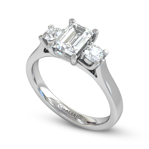 Emerald Cut Diamond Trinity Engagement Ring