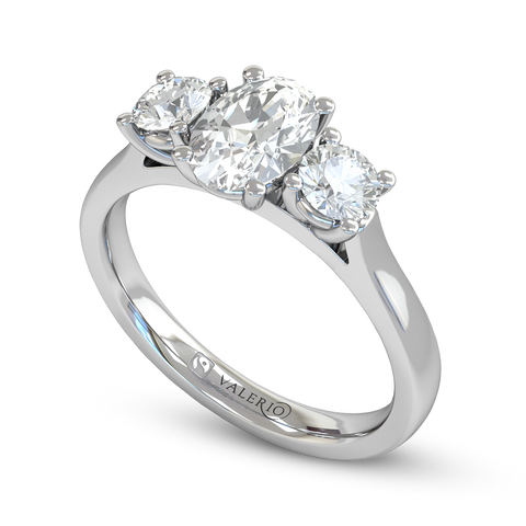 Trilogy Oval Cut Diamond Engagement Ring