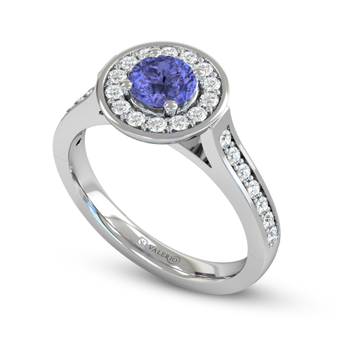 Round Blue Sapphire and Diamond Vintage Engagement Ring