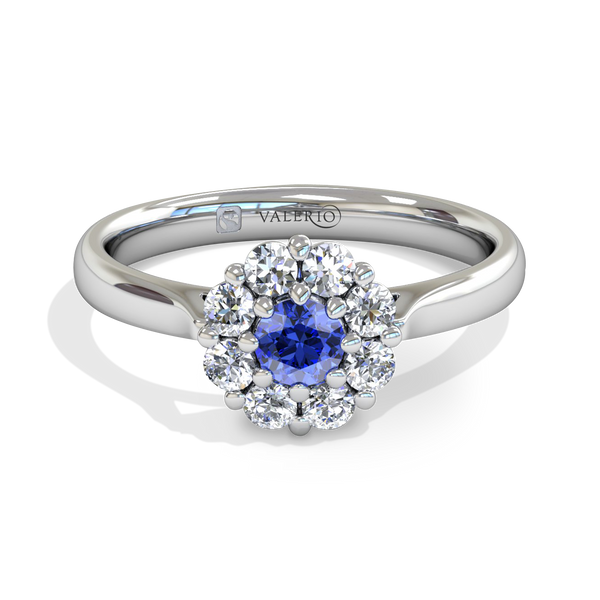 Blue Blossom Halo Ladies Fairtrade Gold Engagement Ring