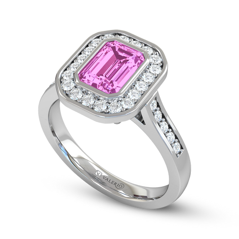 Pink Sapphire and Diamond Vintage Engagement Ring
