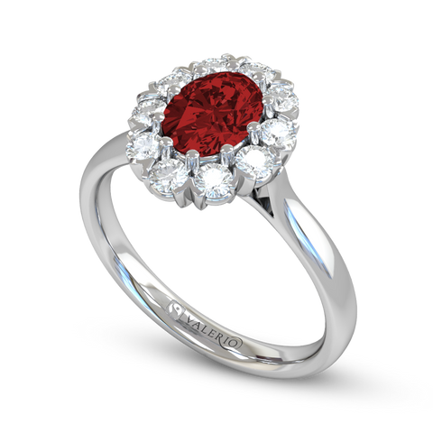 Oval Ethical Ruby and Diamond Engagement Ring
