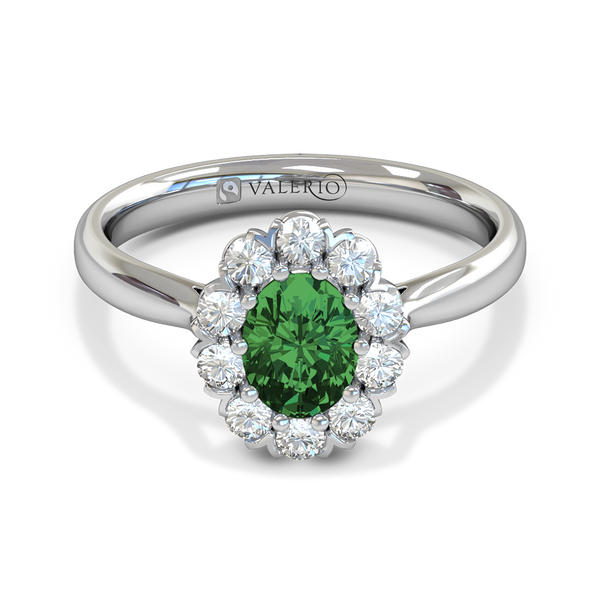 Emerald and Diamond Halo Ethical Engagement Ring