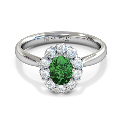 Oval Cut Emerald and Diamond Engagement Ring