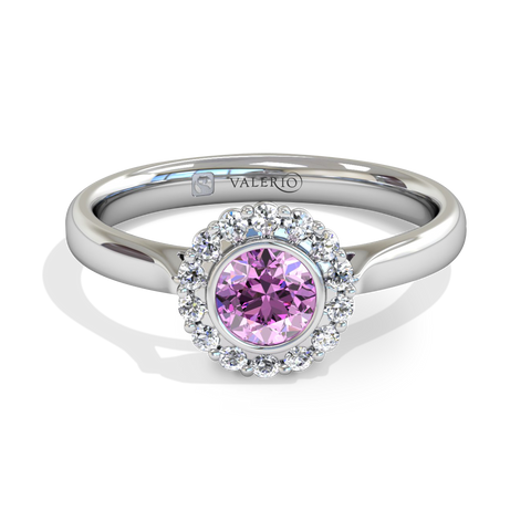 Pink Sapphire Ladies Halo Fairtrade Gold Engagement Ring
