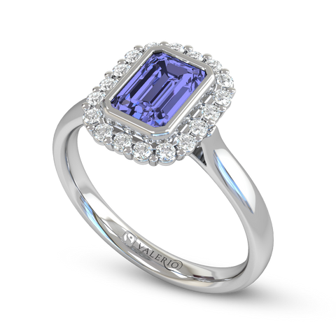 Blue Sapphire and Diamond Fairtrade Gold Ladies Engagement Ring