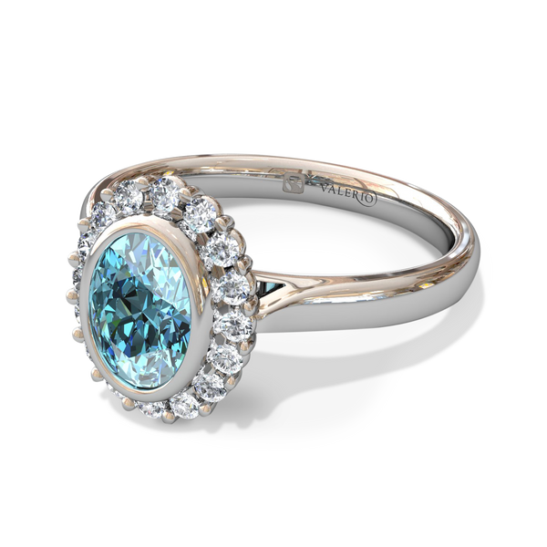 Aquamarine Halo Ladies Fairtrade Gold Engagement Ring