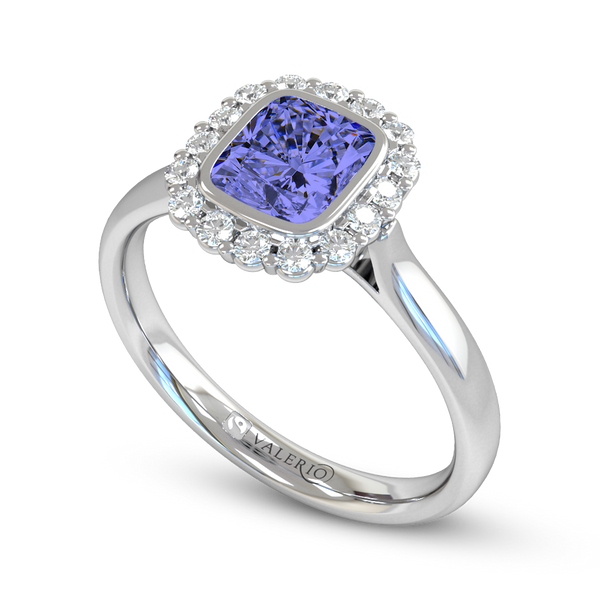 Ethical Sri Lankan Blue Sapphire and Diamond Cluster Engagement Ring