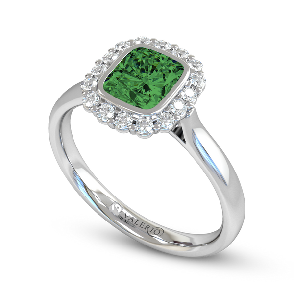 Emerald and Diamond Fairtrade Gold Engagement Ring