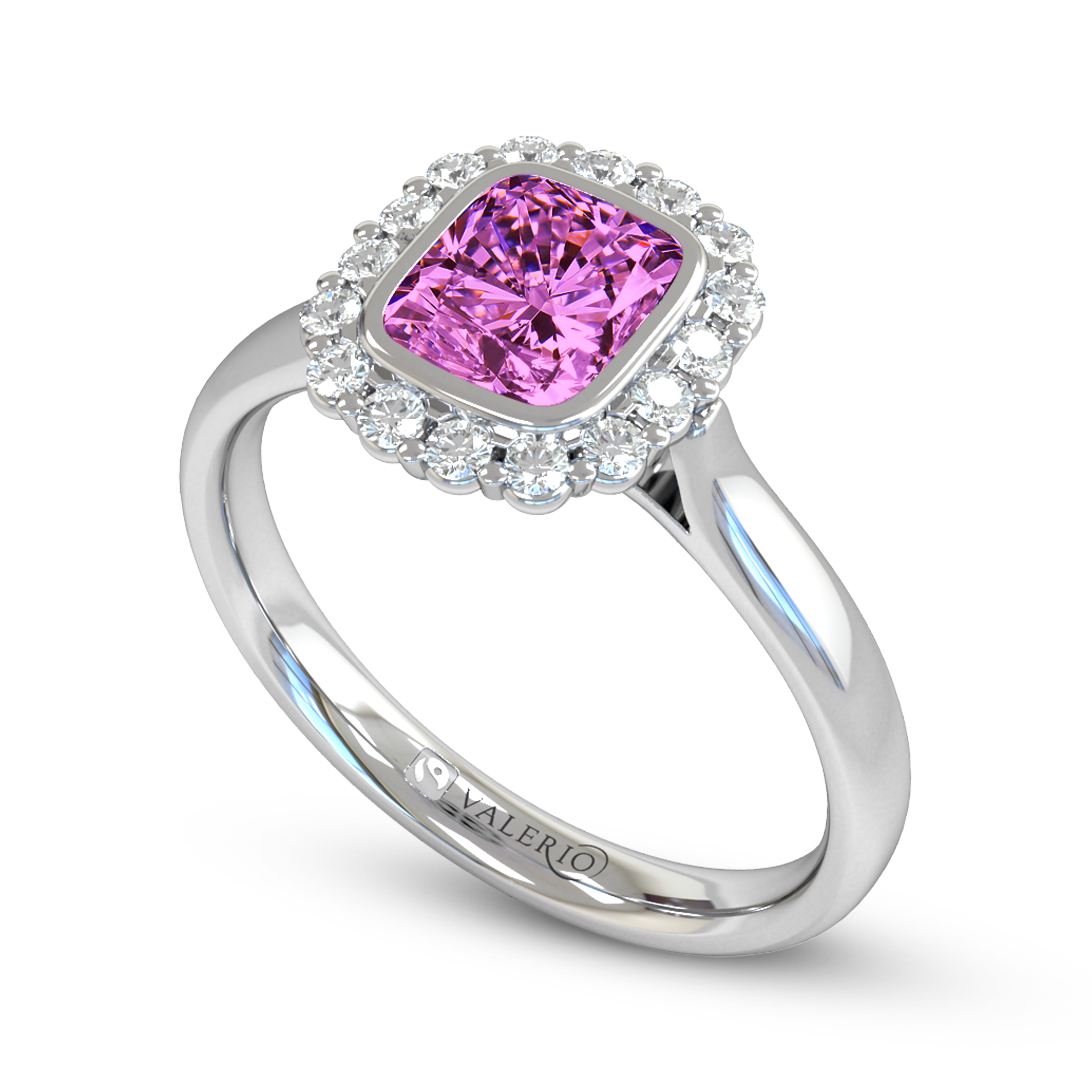 Ethical Sri Lankan Pink Sapphire And Diamond Cluster Engagement Ring