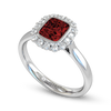 Nyala Ruby and Diamond Cluster Engagement Ring