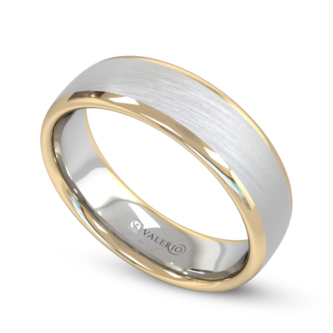 Fairtrade White & Yellow Gold Court Men's Wedding Ring