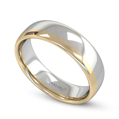 Yellow & White 18ct Gold Fairtrade Court Men's Wedding Ring