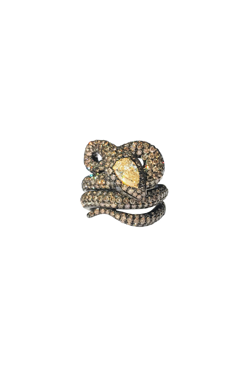Brown & Yellow Diamond Snake Ring