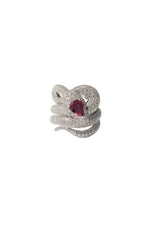 White Diamond & Ruby Snake Ring