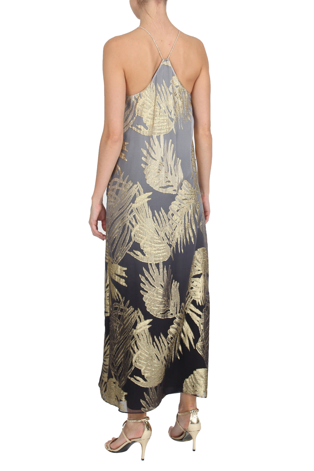 Metallic Palm Ombre Racer Back Long Dress