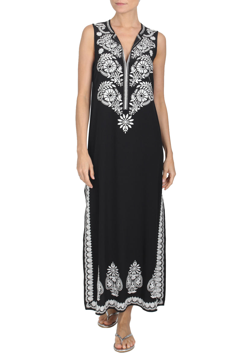 Embroidery Silk Sleeveless Long Dress