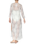 Embroidered Long Silk Chiffon Caftan